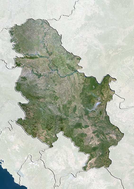 Serbia, satellite image