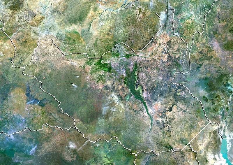 South Sudan, satellite image