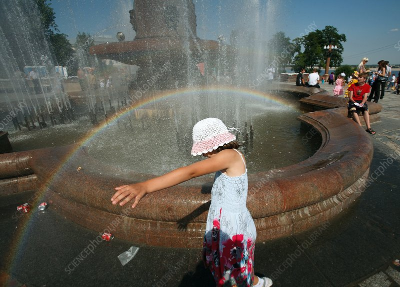 Child in a fountain
