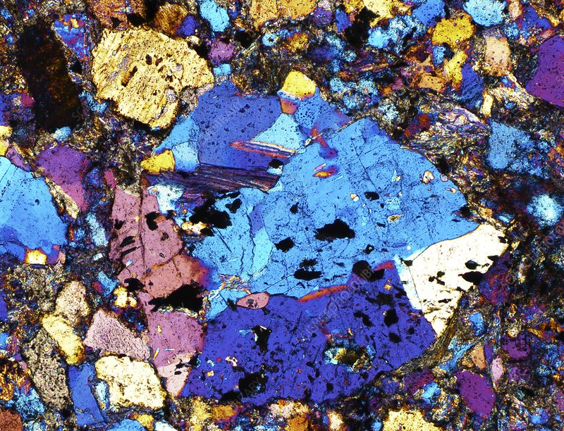 Polarised LM of thin section of greywacke