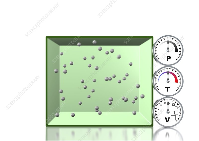 Combined gas law, artwork - Stock Image - C013/4731