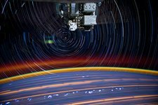 ISS and star trails, from space