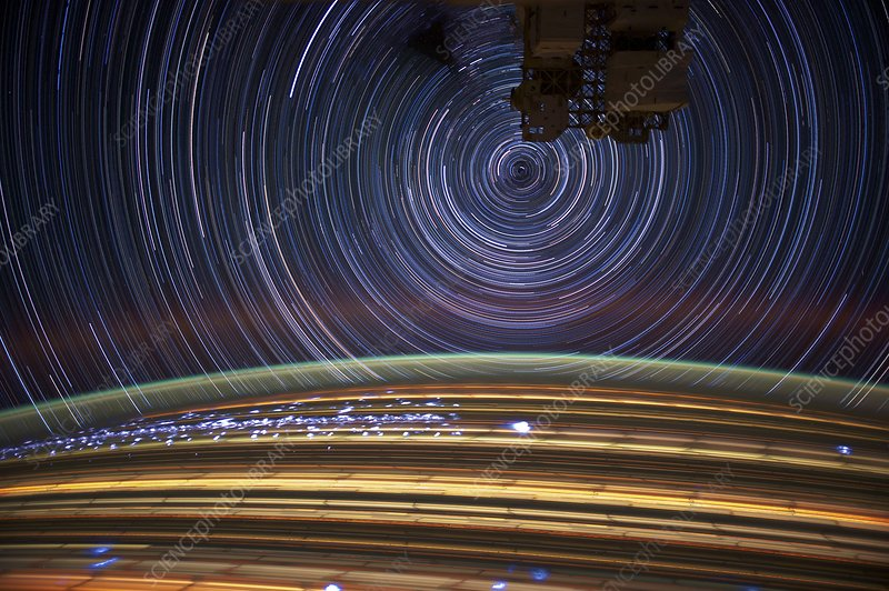 Earth and star trails, from space
