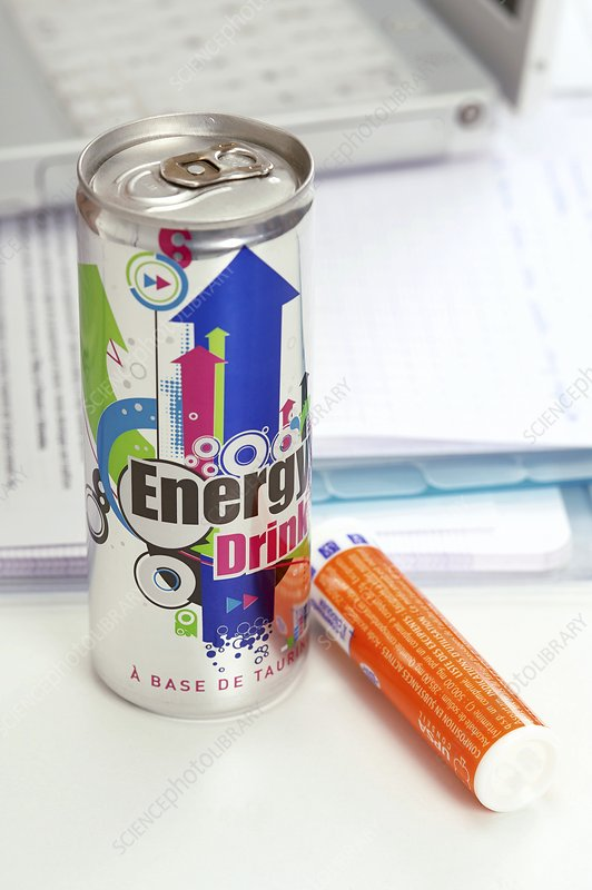 Energy drink and vitamin pills