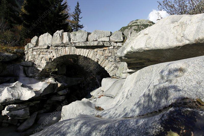 Alpine stone bridge, Switzerland