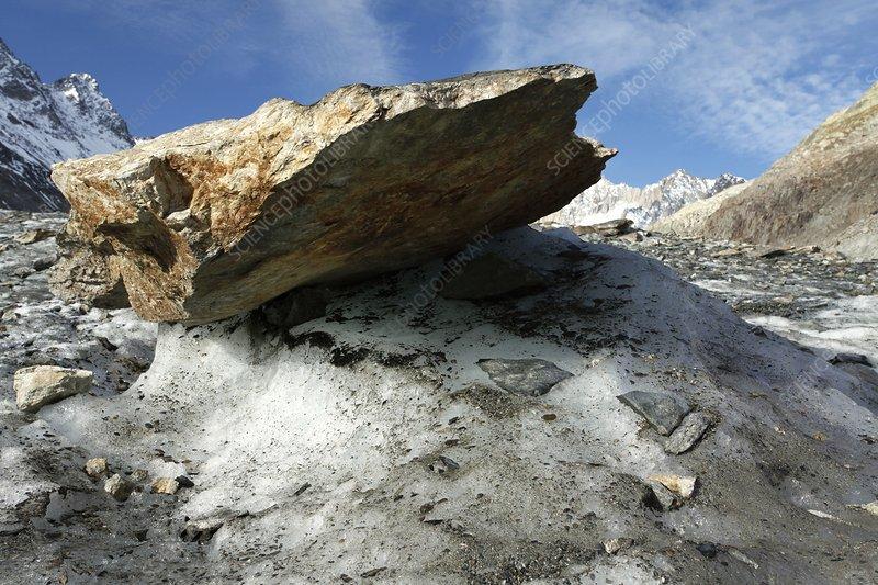 Boulder on a glacier