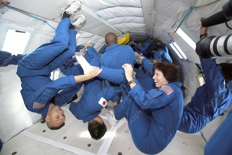 Astronaut students training in free-fall
