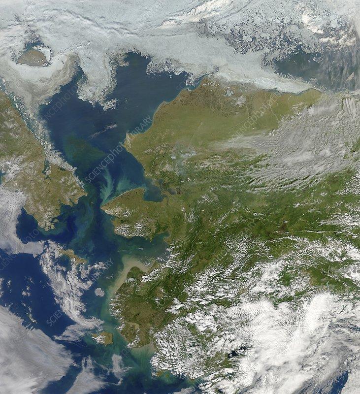Bering Strait, satellite image