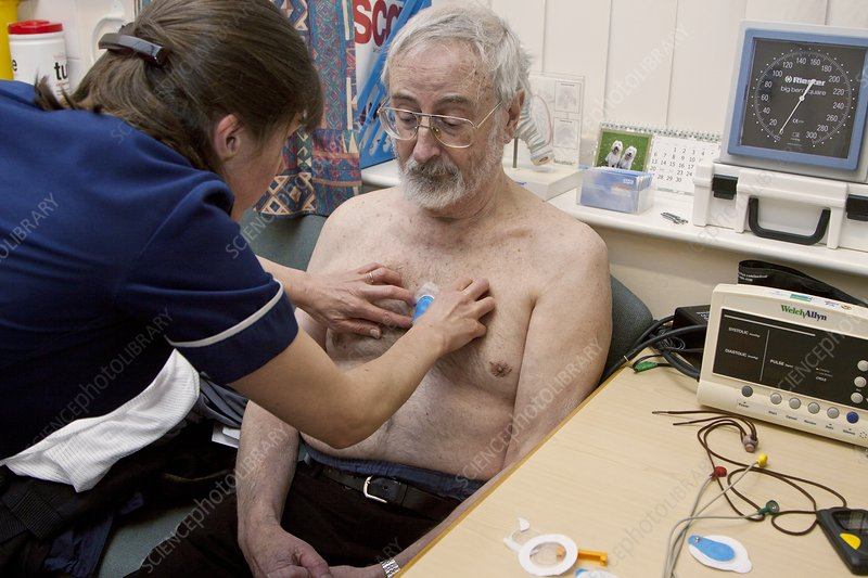 Ambulatory ECG being fitted