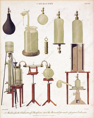 Chemistry equipment, early 19th century