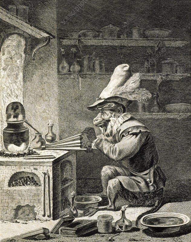 Alchemy satire, 18th-century artwork