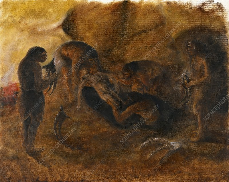 Neandertha burial, artwork