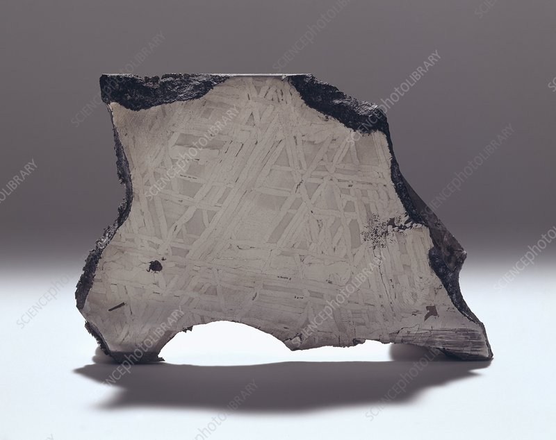 Section through an iron meteorite
