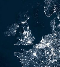UK and Europe at night
