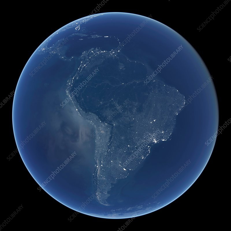 South America at night