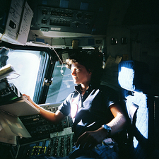 Sally Ride on space shuttle Challenger