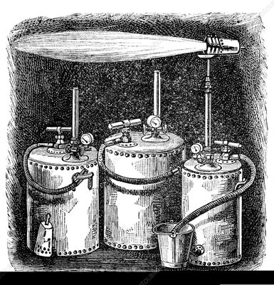 Wells pneumatic oil lamps, 1889