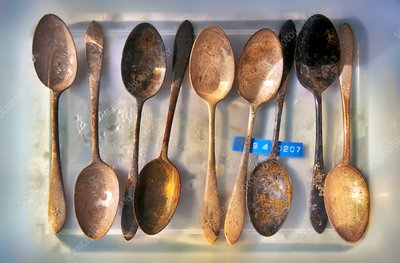 Corroded spoons from the Titanic