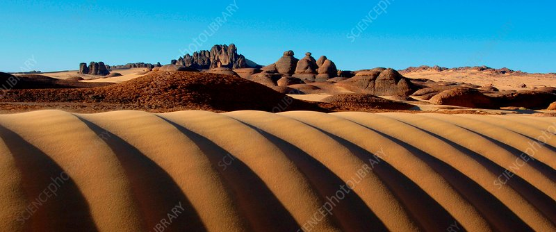 Desert dunes and rocks, Algerian Sahara