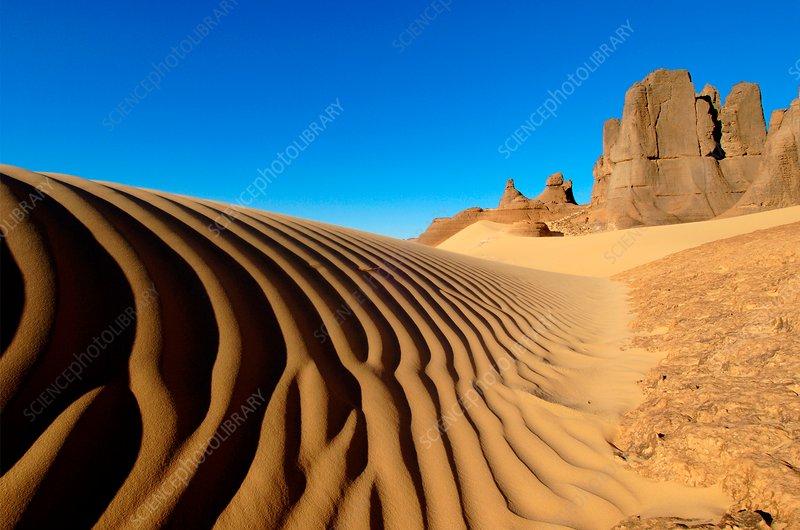 Desert dunes and rocks, Algerian Sahara