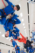 ESA astronauts training in free-fall