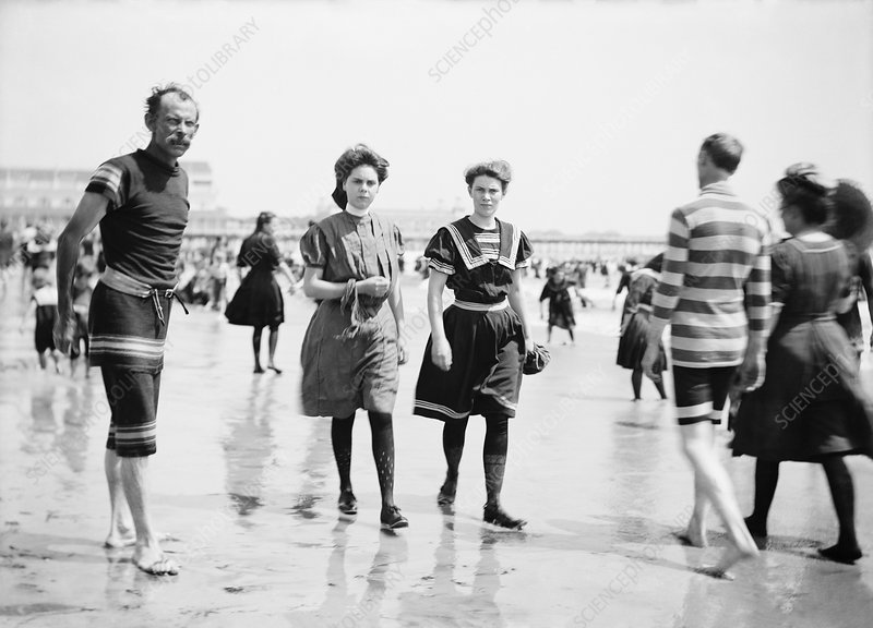 Lifeguard and beach visitors, 1880-1906