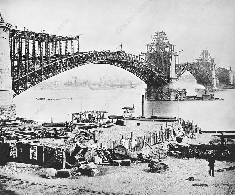 Eads Bridge construction, 1870s