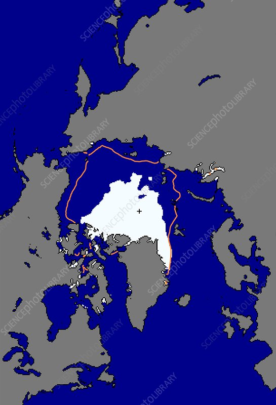 Arctic ice minimum extent, 2012