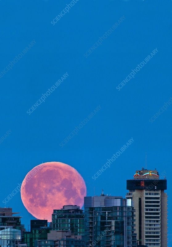 Moon setting over Vancouver skyline