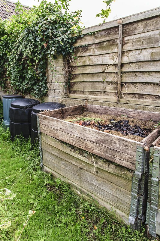 Compost heap and bins
