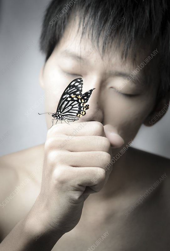 Man holding a butterfly