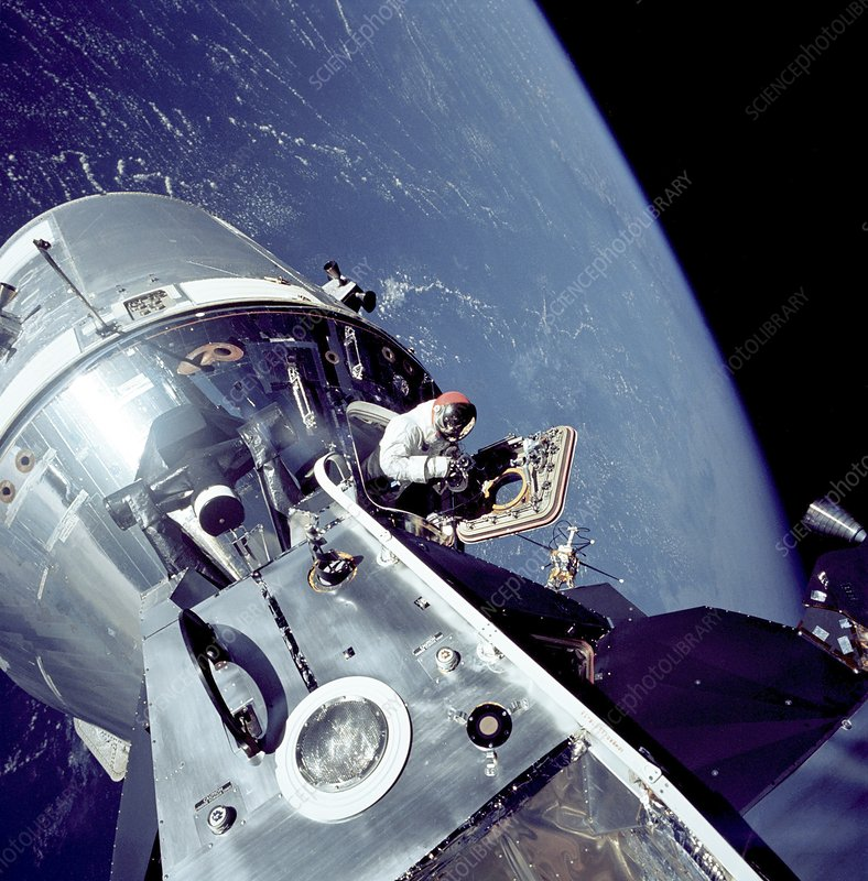 Apollo 9 docked command module in orbit