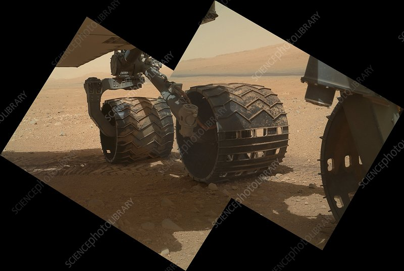 Curiosity rover's wheels, Mars