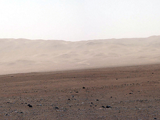 Wall of Gale Crater on Mars, brightened