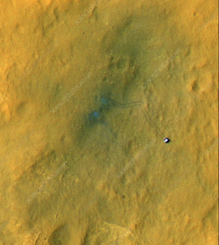 Curiosity rover on Mars, satellite image