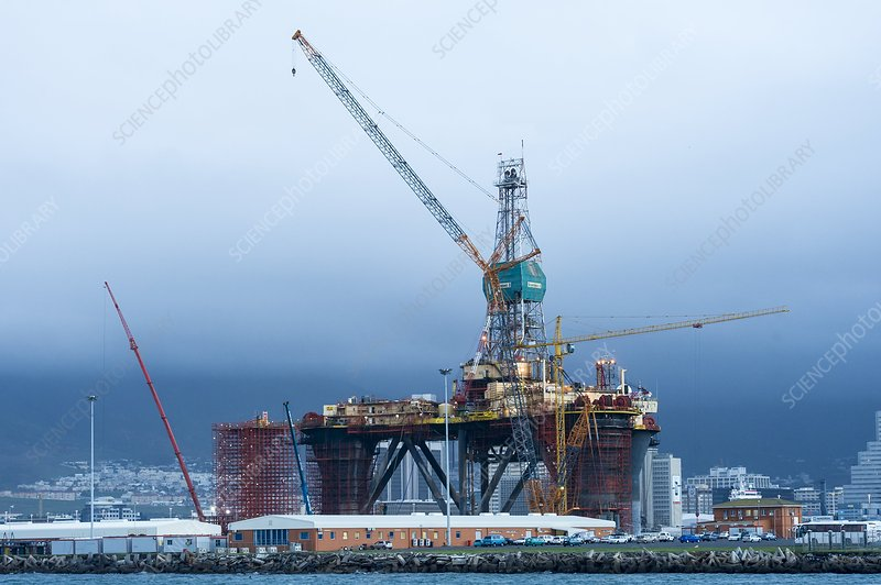 Oil rig undergoing maintenance