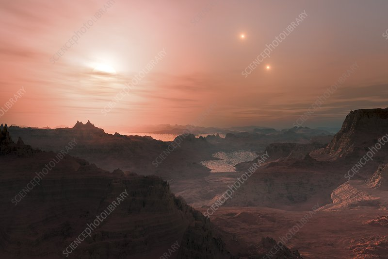 Sunset on Gliese 667 Cc planet, artwork