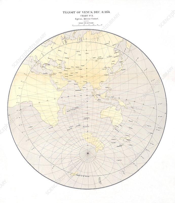 1874 Transit of Venus chart, egress 1