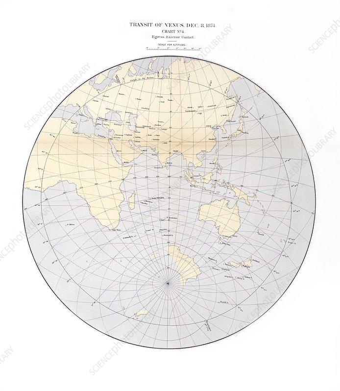 1874 Transit of Venus chart, egress 2