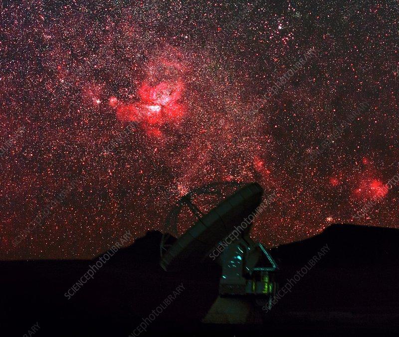 ALMA telescopes under stars