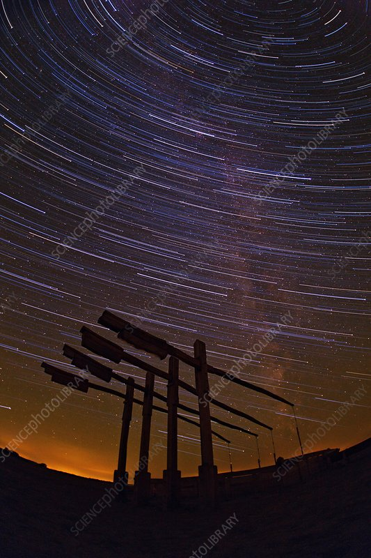 Star trails over Hortobagy National Park