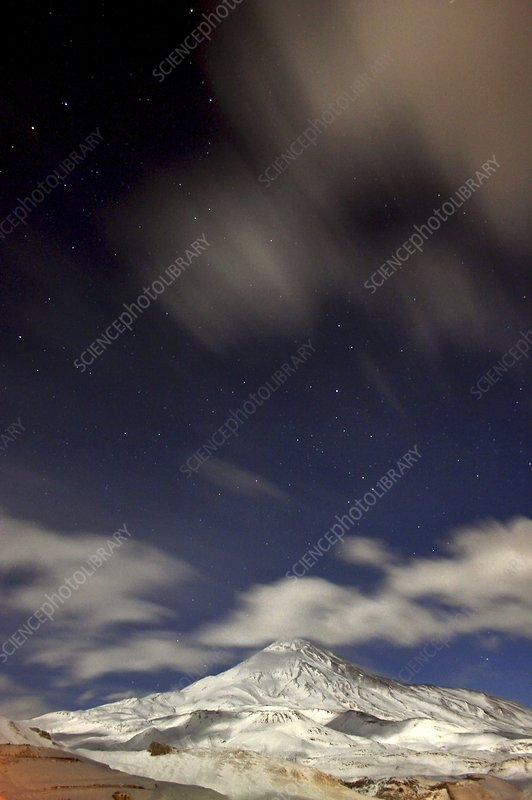 Mount Damavand at night
