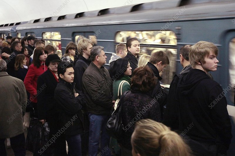 Rush hour on Moscow metro