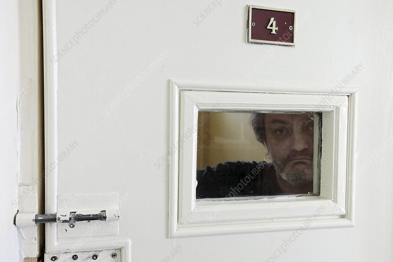 Psychiatric patient in secure room