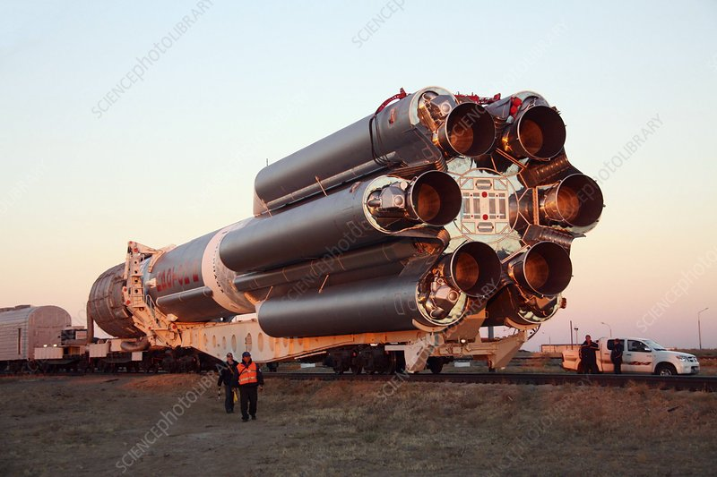 Proton rocket being moved to launchpad