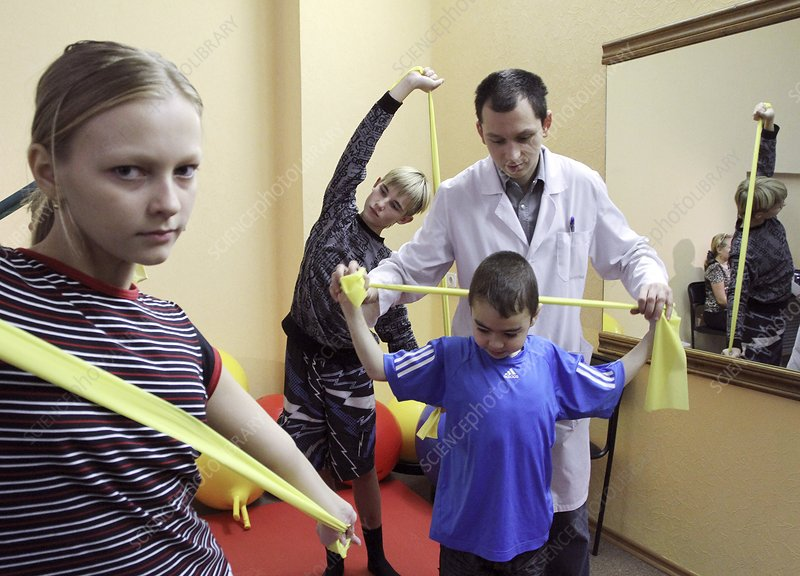 Children in physiotherapy unit