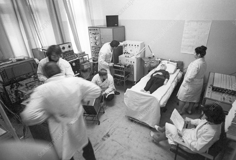 Patient undergoing electrostimulation