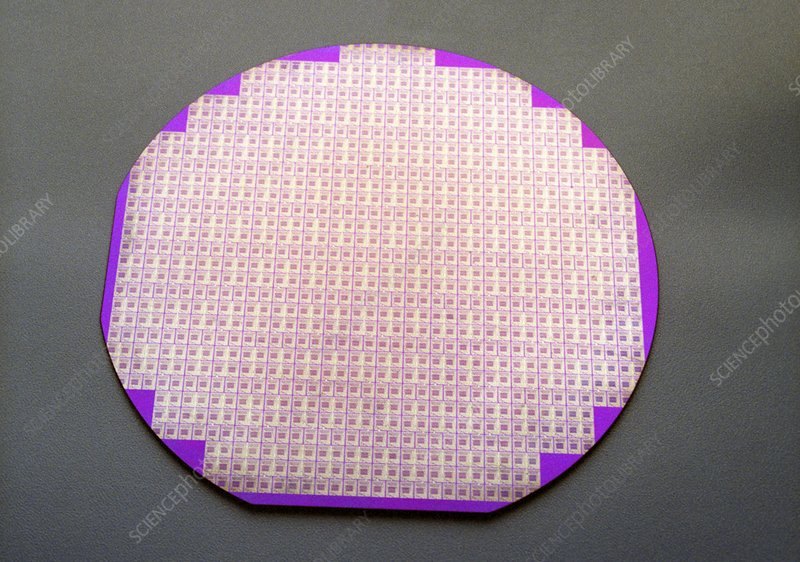 Microchips on a silicon wafer