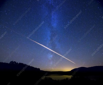 Meteor track over Scottish loch
