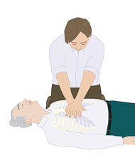 CPR first aid technique, artwork